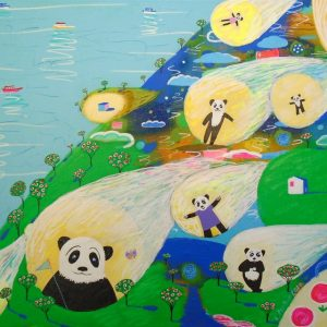 "Katrina Avotina Painting - ""Cosmic Panda"""